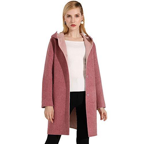 HGDR Winter Damen Single Breasted Cashmere Wolle Kapuzenmantel Jacke Lady Warm Woolen Outwear Parka Mäntel,Pink-L