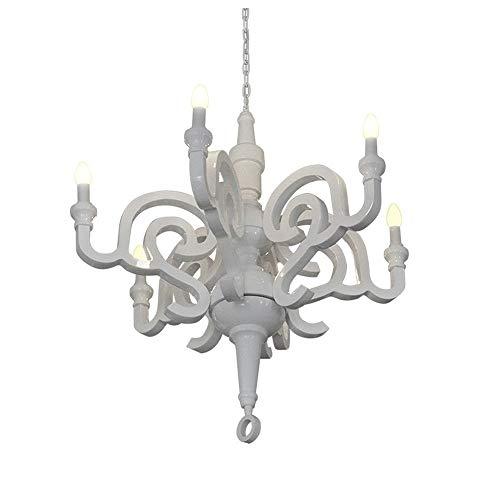 GaGa Lamp Design Kronleuchter Holz weiss glanz 6x40 W E14 Durchmesser 70cm