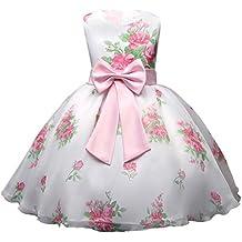 Vestido de niña Vestido de boda del partido del vestido de tul del tutú del cordón de la princesa de la dama de honor de la princesa de la flor Recién nacido bebé grano acanalado Bowknot sin mangas tutú princesa vestido trajes ropa LMMVP (120CM(6T), Blanco)