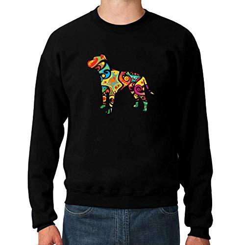 Idakoos Psychedelic American Pit Bull Terrier Sweatshirt M Bull Terrier Sweatshirt