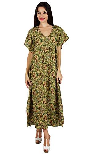Bimba les à long imprimé maxi caftan coton vêtements de nuit robe caftan Vert
