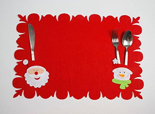 Sudook 2PC Santa Claus Kostüm Tisch Matte Muster Dinner Party Messer Gabel Tischset Weihnachten Dekoration für Home Party oder Bar color2