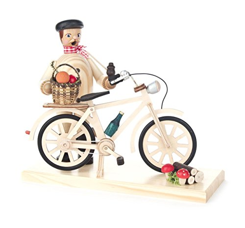 DREGENO Seiffen eG Räuchermann Pilzsammler mit Fahrrad, Holz, Bunt, 20 x 8 x 18 cm