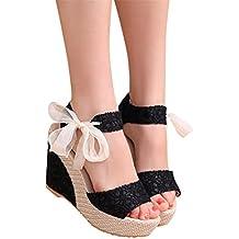 41bf29bf3a4a4 ❉Sandales Compensées Femme Sandales Talon Compensé Chaussures Tongs Sandales  Talons Hauts Bout Ouvert Plate-