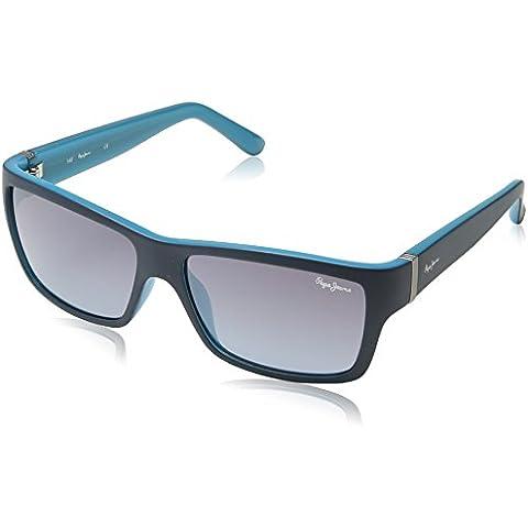 Pepe Jeans - Gafas de sol Rectangulares PJ7184 C3 Aron, Blue/Grey Lens