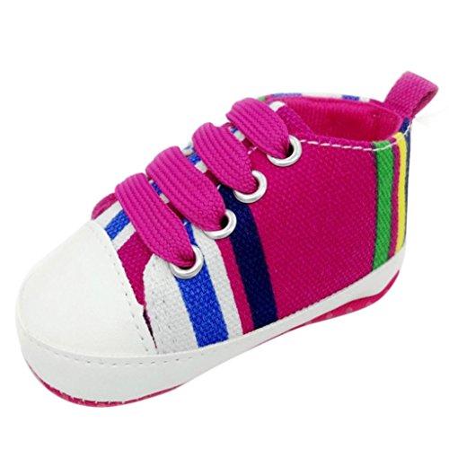 Babyschuhe Longra Baby Mädchen Jungen Schuhe Sneaker rutschfest weiche Sohle Kleinkind lauflernschuhe krabbelschuhe bunte Leinenschuhe (0~ 18 Monate) Hotpink