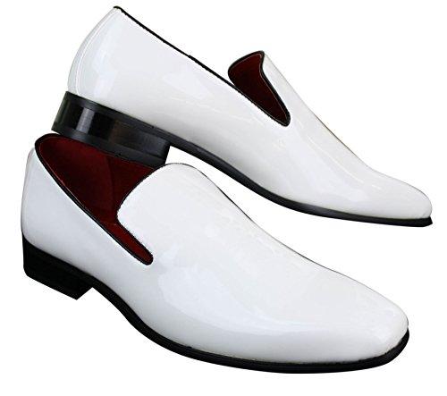 Herrenschuhe Weiß Schwarz Slip On Leder Optik Außen & Echtlederfutter Weiß