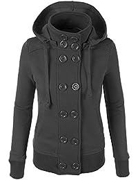Trada Cappotto Donna Invernali Autunno doppia fila di bottoni Giacche  Manica Lunga Giacca a vento Cappotto Felpa con… 1d9967cdb64