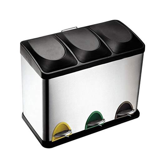 Duoer home pattumiera per rifiuti da cucina   capacità di spazzatura 45l   3 scomparti con codice colore riciclaggio con coperchio   corpo in metallo robusto