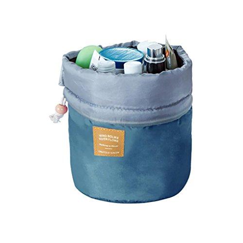 Covermason Trousses de Toilette Trousses à maquillage Vanity Beauty Case Nylon Drawstring Sac de Voyage Sacs de Lavage Sac de Rangement Organisateur de Maquillage Sac (23x17x10cm, Bleu)