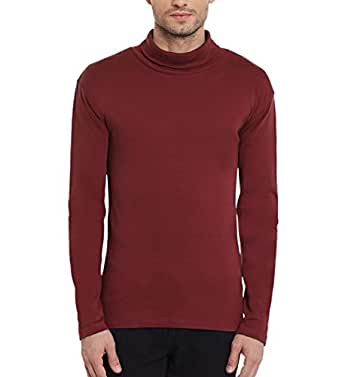 d3522678455da1 Hypernation Maroon Color Cotton High Neck T-shirt For Men: Amazon.in ...