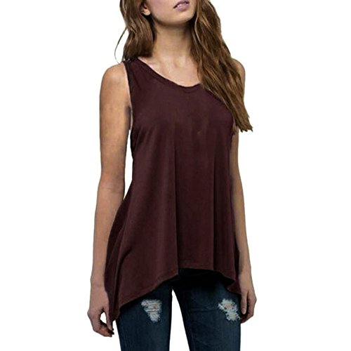 Top Damen Einfarbig Rundhalsausschnitt Ärmelloses Plus Size Sommer Beiläufige Weste Casual Tops T-Shirt Blusen Trägershirt(Grau,S) -