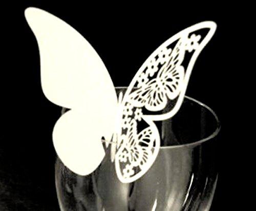 better-way 200Stück Schmetterling Hochzeit Tischkarten Weinglas Party Dekoration Aufsteller Platz Karten Tisch Namen Karten Hochzeit Party Favor Viktorianisch 3.7 Inch weiß