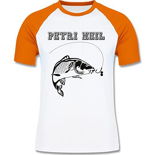 Angeln - Petri Heil - zweifarbiges Baseballshirt für Männer Weiß/Orange
