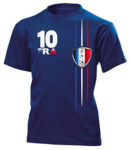 Frankreich Fanshirt Streifen 2 Sterne 6101 Kinder T-Shirt (K-N) Gr.140