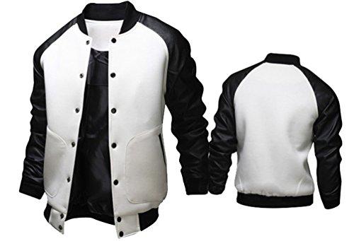 Brinny Mode Langarm Leder Baseball-Jacke Herren Jungen Stehkragen Sportjacke College-Jacke Bomber Jacke Weiß
