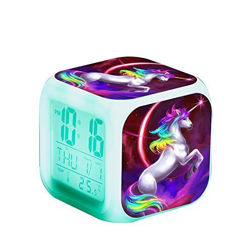 Einhorn Wecker Digital für Mädchen, Kinder Einhornwecker Beleuchteter LED Night Glowing LCD Uhr mit Licht Aufwachen Nachttischuhr Geburtstagsgeschenke für Erwachsene Schlafzimmer (Kinder-wecker Uhr Digital)