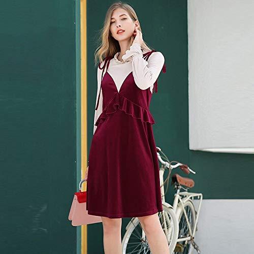 QUNLIANYI Abendkleid Tüll Lang 5XL Plus Size Velvet Dress Red Patchwork Ruffles Oversize Dresses Women Puff Sleeve Bow XXXL Puff Sleeve Dress
