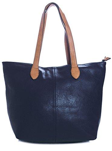 BHBS Damen Promi Einfache weiche und leichte Schulter Handtasche 38 x 28 cm (B x H) - Navy -