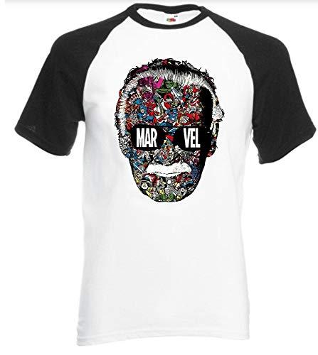 JJZHY Vater von Marvel Stan Lee Mode Einfache Stitching Color Series T-Shirt mit 3D-Druck Unisex,3,S - Lee T-shirt Hat
