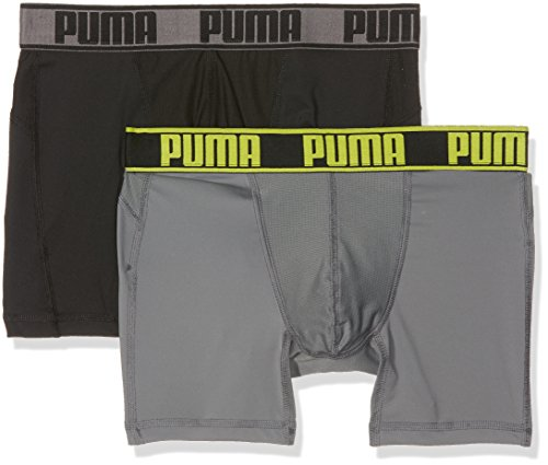 PUMA Herren Active Boxer 2P Packed Unterwäsche, Grey Yellow, M (2er Pack)