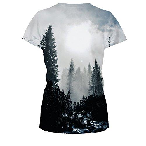 Jiayiqi Unisex Funky Digitaldruck T-Shirt 3D Grafik Kurzarm T-Shirts Wald Nebel