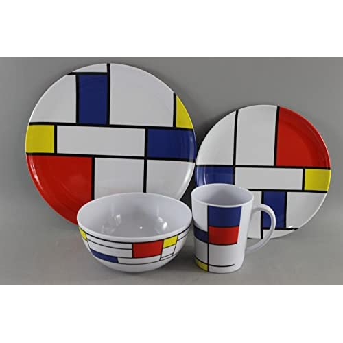 41PjwQuKJDL. SS500  - Leisurewize LWACC379 Melamine 16 Pcs Dinner Set - Plates, Bowls, Mugs, Side Plates - De Stijl, Artist Design, Heat Resistant, Dishwasher Safe