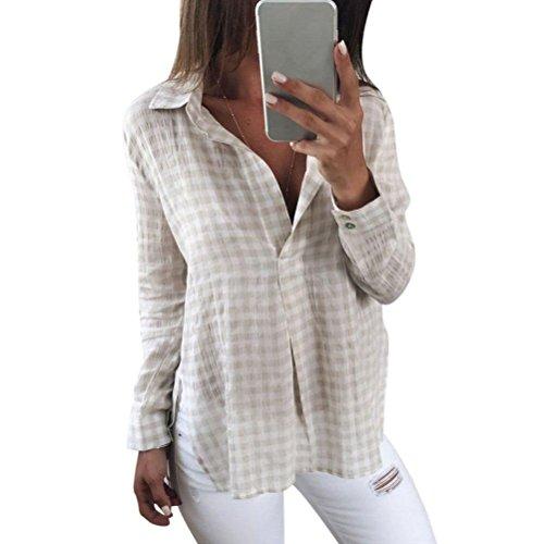 LSAltd Frauen V Ausschnitt Plaid Gedruckte Bluse, LSAltd Damen Langarm Casual Tops T-Shirt (Beige, M)
