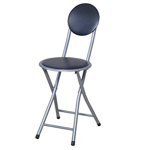 Preisvergleich Produktbild WY Einfache Klappstuhl Hocker Freizeit Home Bürostuhl Zurück Stuhl Runde Hocker Möbel (Farbe : SCHWARZ)