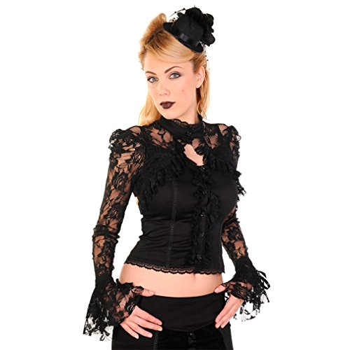 Dancing Days Gothic Bluse - Black Lace XL - Victorian Gothic Black Lace
