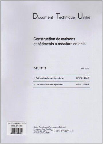 Dtu 31.2 construction de maisons et batiments a ossature en bois