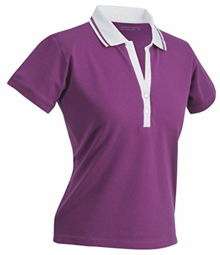 James & Nicholson Damen Damen Stretch Piqué Polo JN158 Purple/White XXL (Piqué Stretch Polo Damen)