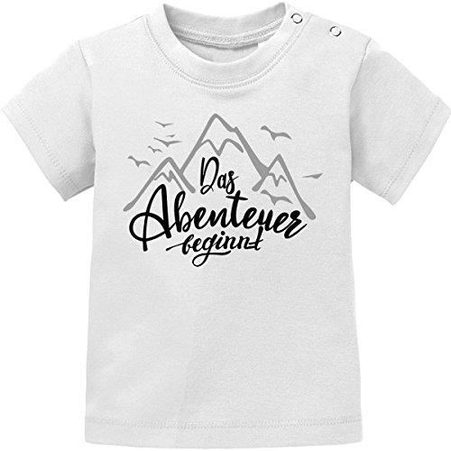 Mikalino Baby / Kinder T-Shirt Das Abenteuer beginnt kurzarm, Farbe:weiss;Grösse:140 (T-shirt Weiße Abenteuer)