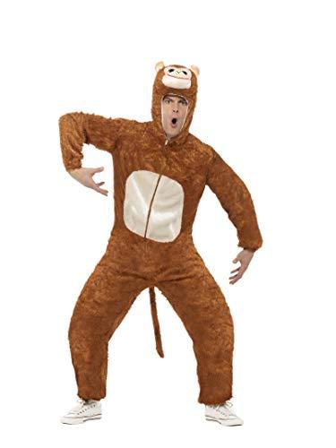Smiffys, Unisex Affen Kostüm, Jumpsuit mit Kapuze, Größe: L, - Einfach Tierisch Kostüm