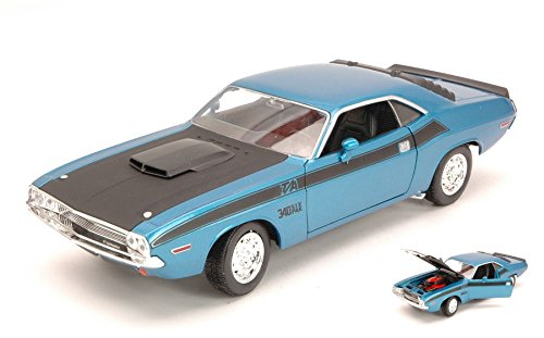 dodge-challenger-t-a-1970-blue-black-124-welly-auto-stradali-modello-modellino-die-cast