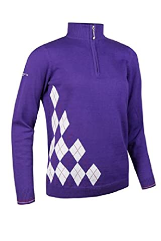 Glenmuir Ladies Zip Neck Offset Diamond Golf Sweater Violet XS