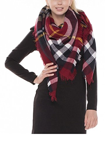 Achillea Übergroße Schal für Damen, Karomuster - Rot - - Gestreifte Wrap Cardigan