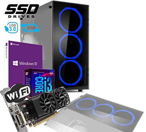 PC DESKTOP GAMING INTEL QUAD CORE I3-8100 UP TO 3,6 GHZ/CASE IN VETRO MYKA CRISTAL ZAFIR CON 3 VENTOLE HALO BLU/VGA GTX 1050TI 2GB /MB HDMI VGA DVI/RAM 8Gb DDR4/SSD 480GB /WIFI 300MB/WINDOWS 10 PRO