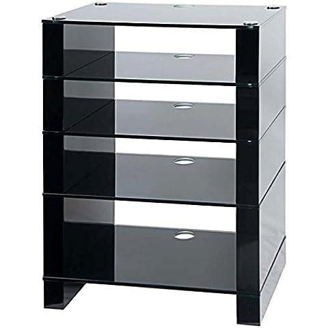 Soporte Hifi, Hi-Fi Rack, AV Audio soporte. Negro Brillante con cinco negro estantes de vidrio