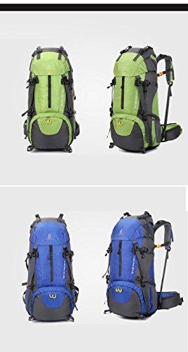 FLAMEHORSE 60L Alpinismo Impermeabile Borsa Zaino da Escursionismo (Blu) Verde