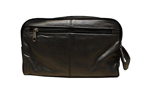 Alassio 44001 - Kulturtasche JUMBO, aus hochwertigem Nappaleder, ca. 28 x 16 x 14 cm, schwarz -