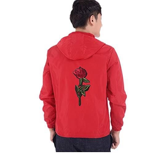 TIFIY Herren Kapuzenjacke, Windbreaker Mantel Herbst Streetwear Fashion Rose Jacke Stickerei Outdoor Fitness Pullover Sweatshirt Cardigan(Rot,M)