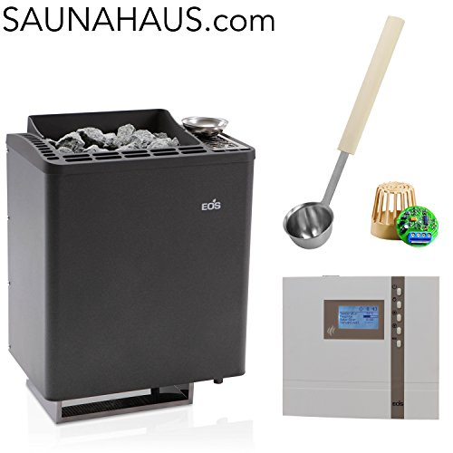 H2 Appliance (Saunaofen EOS Bi-O-Tec incl. Econ H2 Saunasteuergeraet Bio EOS, inkl. Feuchterfüller EOS F2 und exklusive Edelstahl-Saunakelle von ARTVION (6.0 kW))