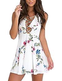 7a3c8a6c414 Mujer Vestidos Cortos Verano Elegantes Bonita Floreadas Mini Vestido Sin  Mangas Basic V Cuello Triángulo Vendaje