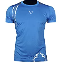 Jeansian Hombres Deportes Wicking Transpirable Quick-dry Manga Corta Camisetas Tee Tops Running Training LSL1052 Blue S