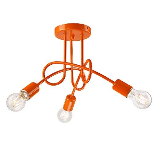 Pendel-Leuchte Decken-Leuchte aus metall E27 Hänge-Leuchte (Farbe: Orange) Vintage Industrieleuchte Wohnzimmerlampe Modern Wohnzimmer Vintagelampe für Wohnzimmer / Küche / Büro / Praxis (Küche Pendel-leuchten)