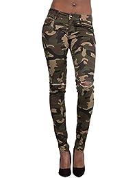 Zhhlinyuan Ladies Mujer Camuflaje Ripeado Pitillos Jeans Camo Verde del  Ejército Diseño de Moda Casual Pantalones 9b92a26095d0