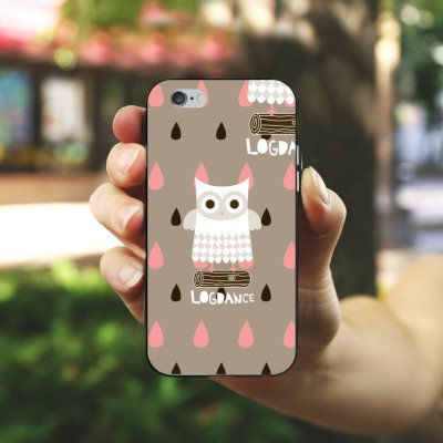 Apple iPhone X Silikon Hülle Case Schutzhülle Eule Holz Stamm Silikon Case schwarz / weiß
