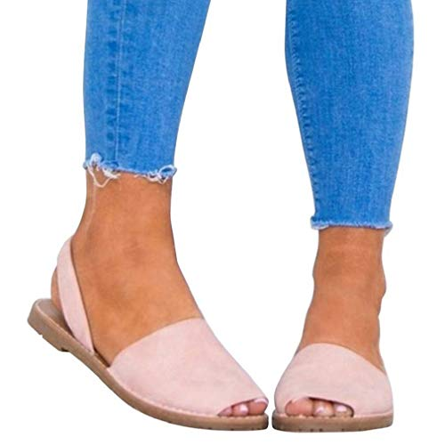 Sandalen Damen Sommer Sandaletten Flachen Frauen Knöchelriemchen Espadrille Plateau Flip Flop Sommersandalen Bequeme Elegante Schuhe Schwarz Weiß Rosa Gr.34-44 PK36