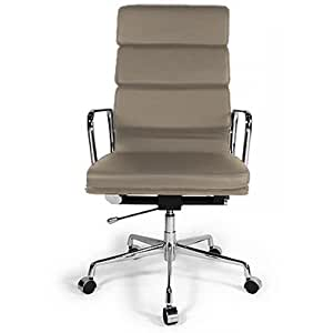 Fauteuil style Soft Pad Group EA 219 - style Charles Eames -Cuir Premium- Roulettes Taupe